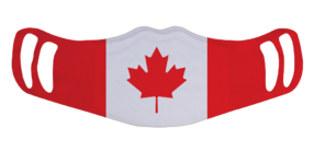 A washable and reusable polyester Canadian Flag printed cloth face mask with two ear holes by each side